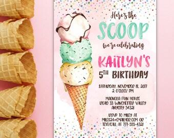 Ice Cream Girl Birthday Invitation, Creamery Sundae Here's the Scoop Ice Cream Party Summer Printable Invitation