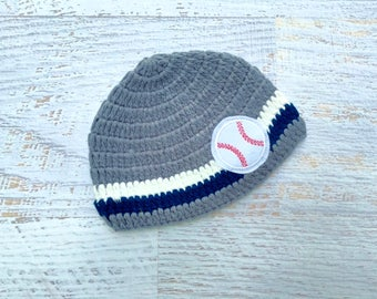Baby Boys Baseball Crochet Beanie Hat for Baby Boy