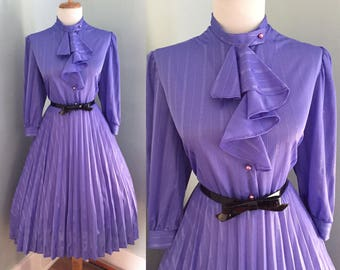 Vintage Sexy 1960s 1970s Purple Long Sleeve ATOMIC Full Pleated Skirt Day Shirt Dress w Pussy Bow Ascot Tie Neck