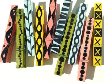 PATTERNED CLOTHESPINS hand painted magnets light blue green yellow black