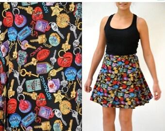 SALE Vintage 90s Silk Tennis Pleated Wrap Skirt by Nicole Miller Hotel Keys Print// 90s Vintage Pleated Skirt Silk Road Trip Vacation Key Pr