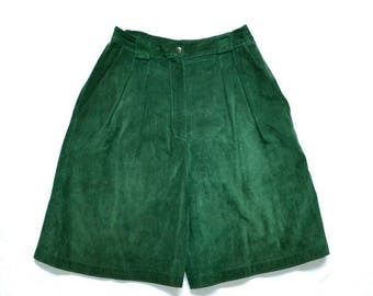 SALE Vintage Green Suede Shorts Size XS Small// Vintage Green Leather Shorts High Waisted Size Small