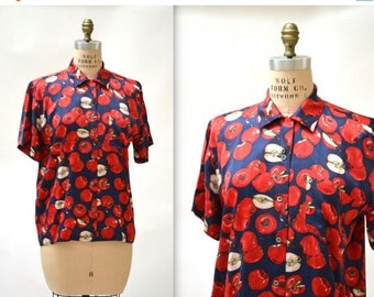 SALE Vintage Nicole Miller Silk Shirt Size Medium Large with Fruit Print Apples Orchard Mens Womens Silk Shirt size Small Medium Red and Blu