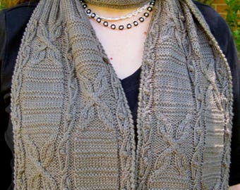 Knit Scarf Pattern:  Panda Cabled Turtleneck Scarf Knitting Pattern