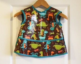 LAST ONE Sleevless Kids Art Smock Childrens Craft Apron with Dino Dudes