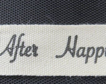 1/2 Inch Ivory Canvas Wedding Print - Happily Ever After Ribbon 100% Cotton - 30 Yard Spool
