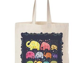 """Sac Tote bag coton Bio """"Eléphants"""" bleu, multicolore, sac cabas, cadeau fille, ado, femme, fabriqué en France"""