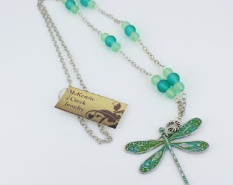 Dragonfly necklace with aqua beads and patina