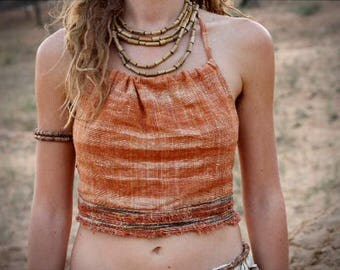 Backless Halter top with Frayed Edges - Khadi Cotton