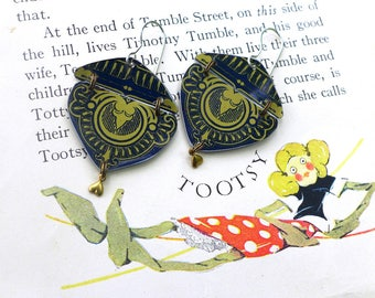 Navy and Gold Tin Earrings, Light Weight Fancy Drop, Sterling Ear Wires, 10th Anniversary, Hinged for Movement