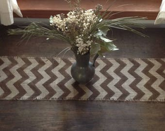Burlap Chevron Table Runner 12 14 X 84, 96 Or 108 Brown Hand Painted
