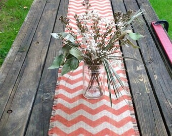 Burlap Chevron Table Runner 12-14 x 48 to 72 Rustic Grain Sack Home Decor in Orange by sweet janes plan