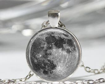 ON SALE Full Moon Necklace Astronomy Jewelry Solar System Outer Space Art Pendant with Ball Chain Included