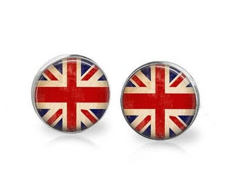ON SALE Union Jack Stud Earrings UK England British Flag Jewelry Hypoallergenic Surgical Steel Studs