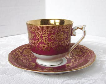 Demitasse Cup, Antique, Royal Czechoslovakia, EPIAG, Burgundy, Red, Gold, Cup and Saucer, Royal Czechoslovakia, EPIAG, 1930s