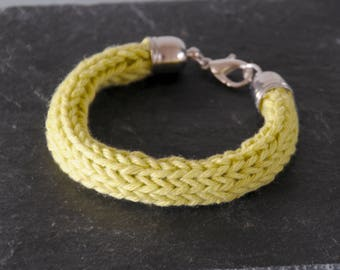 Pistachio Knitted Bracelet - Light Green Silver Plated Chunky Cotton Bangle Colourful Jewellery Summer Accessory by Emma Dickie Design