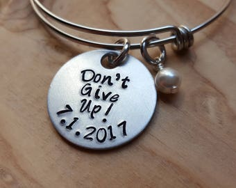 "JW Regional Convention Bracelet- Hand-Stamped ""Don't Give Up!"" with a date and accent bead of your choice- great Baptism Gift!"