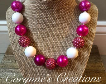 Valentine's Day Chunky Bubblegum Bead Necklace with Pink and White Beads