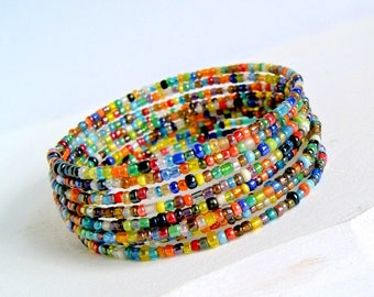 rainbow beaded bracelet, boho chic, memory wire bracelet, bohemian, hippie, colorful