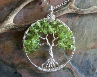 Peridot Tree of Life Pendant Necklace with Sterling Silver Chain -Wire Wrapped Peridot Gemstone Necklace- August Birthstone Pendant Necklace