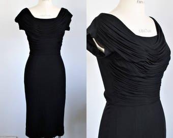 Vintage 1950s Black Wiggle Dress / 50s Jay Herbert Little Black Dress / Shirred Bodice / Pencil Skirt