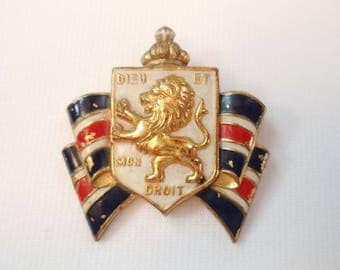 WWII Official B.W.R.S. AND B.B. or Britain Dieu Et Mon Droit Pin by Accessocraft Sweetheart Jewelry Brooch Great Britain War Relief