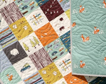 Quilt Organic Baby Bedding Camp Sur Camping Outdoors Hiking Canoeing Unisex Boy Girl Blanket, Bears Fox Fish, Modern Forest Woodland