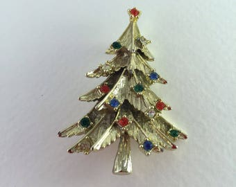 Christmas Tree Pin/Brooch, Multicolored, Rhinestone Sets, Gold tone, Vintage Jewelry, CIJ