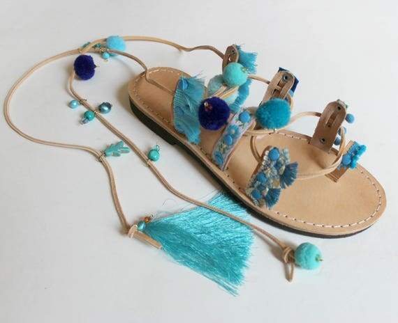 Boho gladiators, pompom sandals Greek sandals sandales grecques