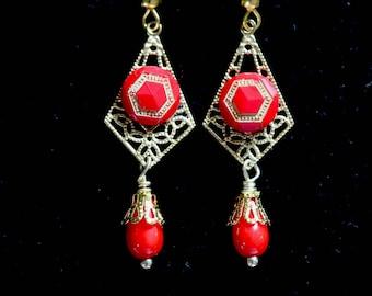 Reclaimed Vintage Earring Assemblage, Pierced, Vintage Glass Button Gold Filigree Recycled Opaque Glass Jennifer Jones, OOAK - Red Geometry