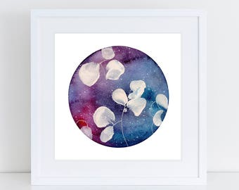 Celestial Flower Watercolour Painting. Galaxy Original Art. Celestial Sphere. Make a Wish. Stars and Moon Artwork. Water Color Universe.