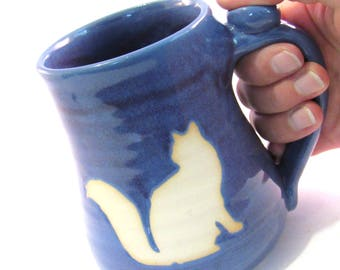 Purple Cat Mug - Coffee Mug - Handmade Pottery - Pottersong - White Cat Mug - Animal Silhouette - Purple Mug - Cat Lover Mug