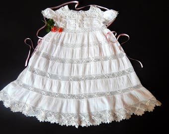 Vintage Victorian Era French Handmade Baby Dress with Irish Crochet Lace