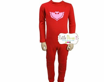 Owlette PJ Mask-Unitard Red/Child ---Mock Neck Unitard....Colors Available great for COSTUMES/HALLOWEEN