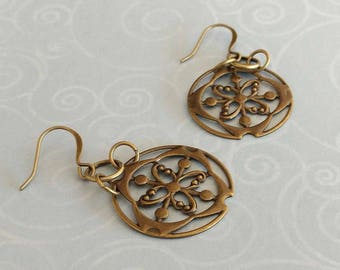 Antiqued Gold Plated Brass, Circle Filigree Vintage Look  Dangle Earrings