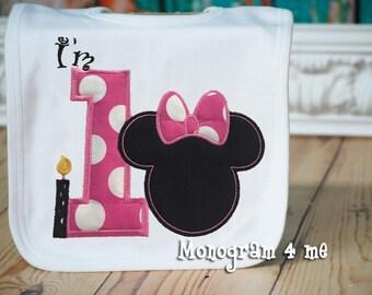 Minnie Mouse 1st Birthday Bib, First Birthday, I'm 1 mouse bib, Bubble Gum Pink