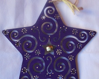 Purple star, hand painted laser-cut wood