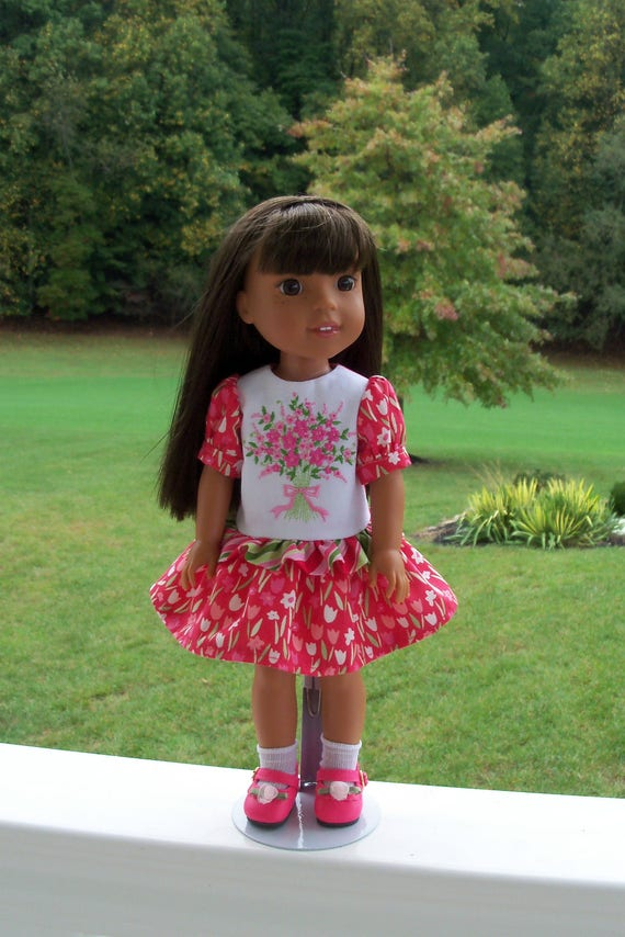 """14"""" Size/ Embroidered  Dress  and Shoes for American Girl Doll 14"""" Wellie Wishers®"""