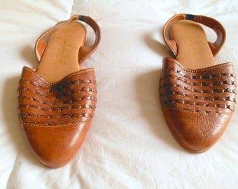Vintage natural Leather slip on Mules