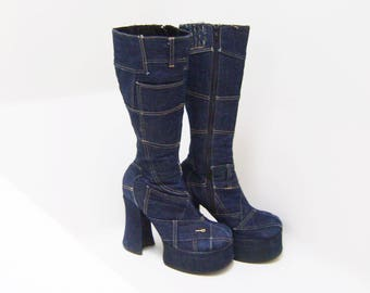 90's Bratz Patchwork Denim Blue Jean Chunky Platform Heel Knee Boots with Secret Pocket // 6 - 6.5