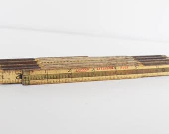 "Vintage Lufkin Extension Ruler with 6"" Brass Slide - Fold Out Folding Ruler"