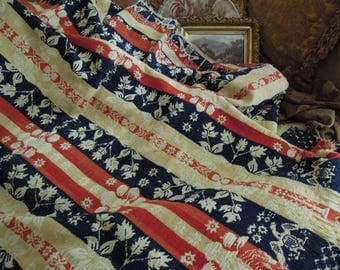 Antique Ohio Woven Coverlet / Wool Jacquard Blanket / 1800s Hand Woven Coverlet / Woven Wool Coverlet / Cream Red Blue Hand Woven Blanket