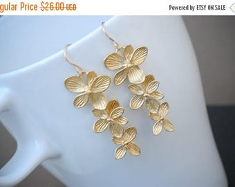SALE - Orchid Earrings Gold, Orchid Gold Long Earrings, Bridal Earrings, Wedding Jewelry, Bridesmaid gift Idea,14k Gold Filled