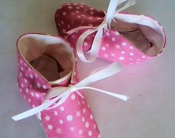 Pink Polka Dot Slip-On Baby Crib Shoes