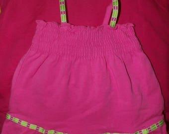 Pink sun dress & matching panties with floral ribbon trim for ages 6 to 9 months - ko8a2