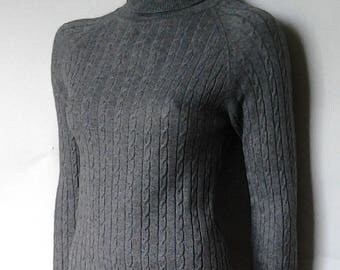 Gray turtleneck cashmere and silk/Vintage/90s/Small/Sweater/Grey/Cashmere/Silk