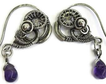 Wire-Wrapped Steampunk Heart Earrings (5 metal choices); Amethyst Steampunk Earrings