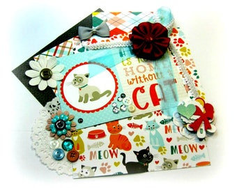 Echo Park Meow Embellishment Kit/ Cat Inspiration Kit/ Cardmaking Kit / Paper Embellishments for Scrapbooks Card Mini Album Tag Paper crafts