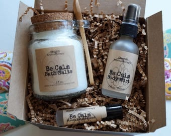 Natural Gift Set for Relaxation - Be Calm Lavender Gift Set - Stress Relief - eco friendly gift - gift for Mom