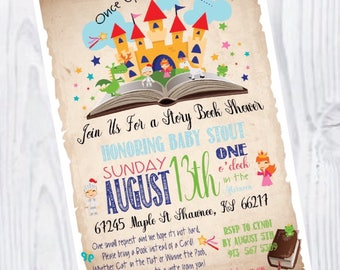Story Book Baby Shower Party Fairy Tale Castle Prince Princess Gender Neutral Boy Girl Invitation